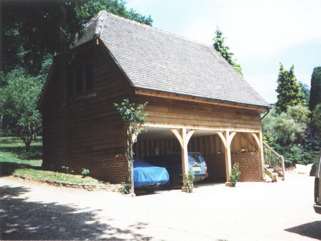 Oak framed triple garage